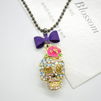 2015 Cute rose sugar skull with the bowknot style charm colourful crystal rhinestone skull necklace zSS1005W