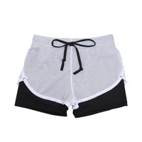 Women Quick Dry Cotton Mesh Short Workout Two Layer Summer Fitness Fold Short Cool Wear Drawstring Clothing