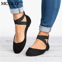 MCCKLE Women Flat Shoes Fashion Gladiator Summer Low Heel For Woman Elastic Band Shoe Rome Style Flats Casual Female Footwear
