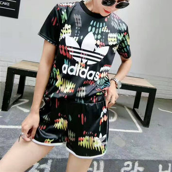 """Adidas"" Fashion Casual Multicolor Feather Clover Letter Print Short Sleeve Set Two-Piece Sportswear"