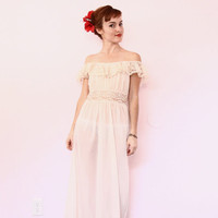 Vintage Soft Pink Nightie | Off the Shoulder Maxi Dress | Lace Night Gown | Boho Festival Dress [ xs - small ]