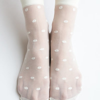 Women New Hezwagarcia Super Sheer Polka Dot Cover See Through Casual Ivory Intimate Ankle Socks Stocking