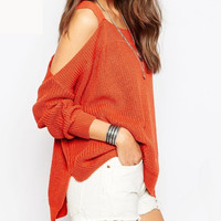 Cupshe Show Off Your Shoulder Asymmetrical Knit Sweater