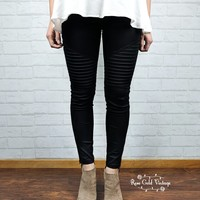 Denim Twill Moto Jeggings - Black -  Small only