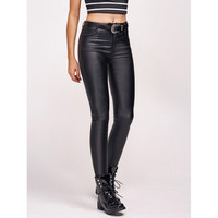 Faux Leather Flocking Stretchy Pants
