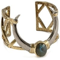 """House of Harlow 1960 Horn Cuff Bracelet with Labradorite Stone, 5.3"""""""