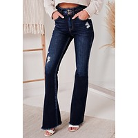 The Flare Necessities High Rise Flare Jeans (Dark)