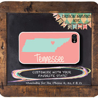 Personalized iPhone Case, Tennessee State Love iPhone Case, Fits iPhone 4, iPhone 4s, iPhone 5, iPhone 5s, Phone Cover, Phone Case