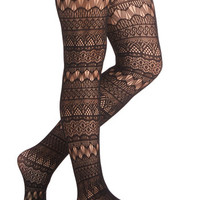 ModCloth Film Noir Fun From Within Tights in Black