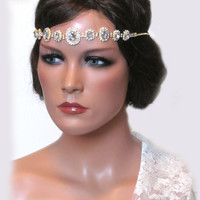 Bridal jewelry, Wedding hair accessory, Swarovski rhinestones Crystal Grecian headband, Golden bridal headband, bridal necklace, earrings