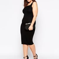 ASOS CURVE Body-Conscious Dress with Strap Back Detail in Longer Length