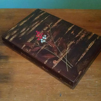 Vintage Japanese Cherry Bark Wooden Stationary Storage Box, Decorative Box with inlaid Design