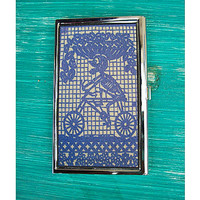 Day of the Dead business card holder retro Mexico card case ID vintage kitsch