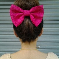 RUBY LACE BIG BOW HAIR CLIP