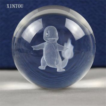 XINTOU 3D Charmander Crystal Ball K9  Toys Globe Acrobatics Magic Props Ball Home Office Decoration Feng Shui Glass BallKawaii Pokemon go  AT_89_9