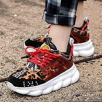wearwinds Versace Leisure heavy-soled lace sneakers Clunky Sneaker Dad shoes Leopard Black Red