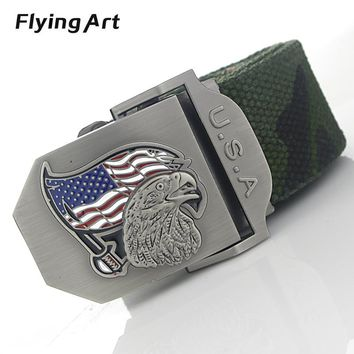 Color the American flag eagle automatically male belt High quality 4mm thick, 3.8cm with canvas belts Cowboy belts for men women