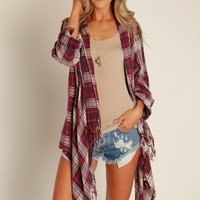 Falling For Plaid Cardigan Wine