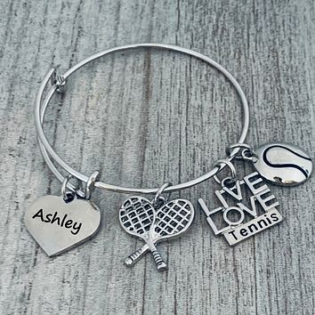 Personalized Engraved Tennis Bangle Bracelet
