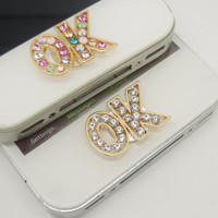 1PC Bling Crystal Wish Word OK iPhone Home Button Sticker Charm for iPhone 4,4s,4g,5,5c Cell Phone Charm Valentine Gift