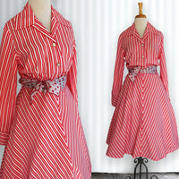 Vintage Dress, Long Sleeve Striped Dress, 1970s shirt style dress, Size 14, Young Society