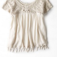 AEO Women's Crocheted Fringe Top (Cream)
