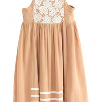 Sleeveless Front Lace Embroidered Pleated Mini Dress