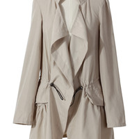 Beige Draped Trench Coat  Beige