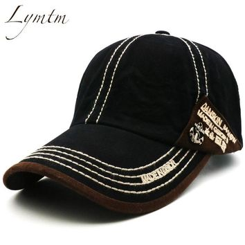 Trendy Winter Jacket [Lymtm] 2018 Summer Leisure Black Baseball Cap Men and Women Metal Anchor embroidery cotton Unisex sport outdoor Snapback Hat AT_92_12