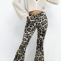 The Commute Leopard Bell Bottom Pull On Pants