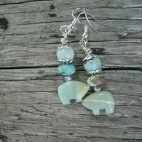 "Amazonite Zuni Bear Earrings, blue green tone, Amazonite beads, Impression Jasper beads, silver plated french wires, length is 2 1/3"", gift"
