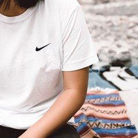 Nike Unisex Black/White Three Stripe Boyfriend T-Shirt