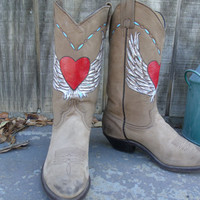 Womens Hand Painted Leather Cowboy Boots Size 6 1/2
