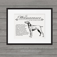 Weimaraner Storybook Style Canvas Print: A rustic and vintage wall art / home decor piece printed on archival quality canvas paper
