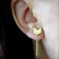 Brass Arrow Ear Jackets Earring Stud Chevron Arrowhead