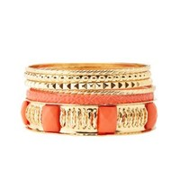 Coral Coated & Textured Bangles - 6 Pack by Charlotte Russe