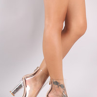 Lucite Glitter Round Heeled Peep Toe Ankle Boots