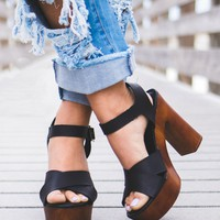 Born To Try Black Heels