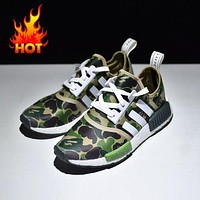 Bape x Adidas NMD Green Camo Army Bathing Ape Nomad Runner Boost Sport Running Shoes - BA7326
