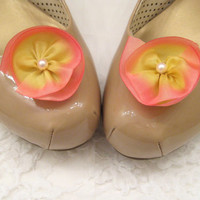 Pink silk flower shoe clips, flower wedding shoe clips, bridesmaid accessory,  bridesmaid shoes, bridesmaid gift, pink yellow wedding