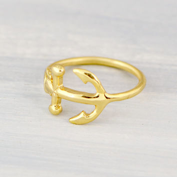Easter Sale Gold Anchor Ring - Horizontal Anchor Ring - Gold Vermeil Ring - Anchor Jewelry - Nautical Jewelry - Gold Ring