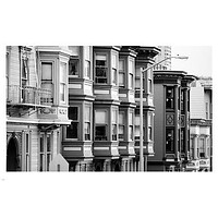 traditional houses in san francisco city street B/ W PHOTO POSTER 24X36 GEM