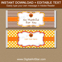 Thanksgiving Favors, Thanksgiving Party Favors, PRINTABLE Candy Bar Wrappers, Thanksgiving Table Favors, Thanksgiving Gift, Hostess Gift T4