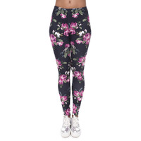Classic Women Leggings Retro Roses Black 3D Print Slim Jeggings Sexy Leggins Tayt Fitness Legging Calzas Mujer Soft Legins Girls