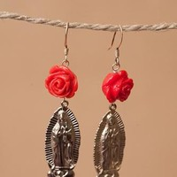 Virgin Mary Rosette Earrings