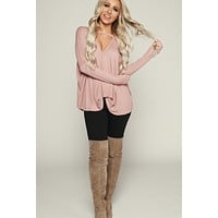 Leave It Be Long Sleeve Top (Mauve)
