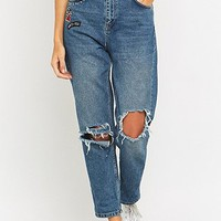 BDG Ripped Blue Mom Jeans - Urban Outfitters