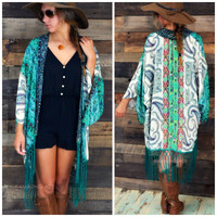 Gypsy Queen Green Paisley Print Fringed Kimono