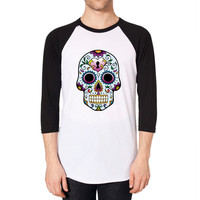 Day of the Dead Skull Blue - Raglan Shirt