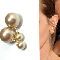 Champagne color Mise en Dior style double pearl earrings Faux Pearl tribal earring trendy fashion studs double faced statement style jewelry